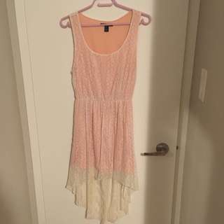 Peach Lace High Low Dress