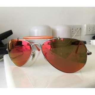Rayban Shooter Aviator Sunglasses with orange Flash lens
