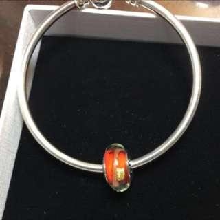 (免運)全新soufeel索菲爾金箔紅色記憶琉璃珠
