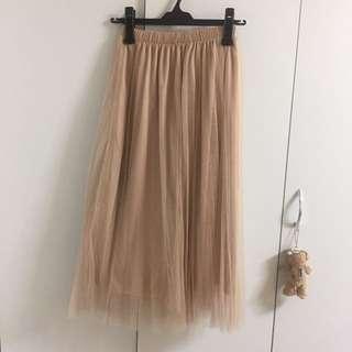 裸色長紗裙