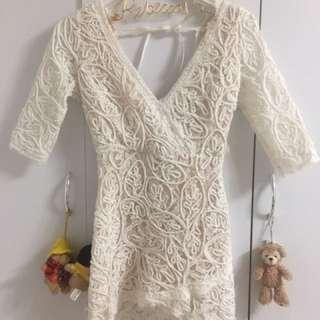韓貨合身蕾絲洋裝