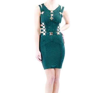 Green Bandage Dress With Gold Buckets