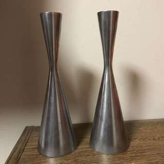 Silver Coloured Candle Stick Holders