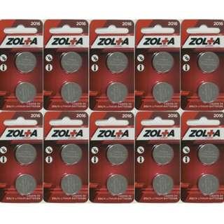 ZOLTA Lithium CR2016 3V (2 Per Pack) x 10