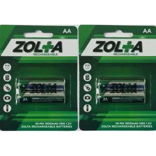 #UOBPayNow ZOLTA Rechargeable Ni-MH AA 1.2V 1800mAh (2 Per Pack) x 2