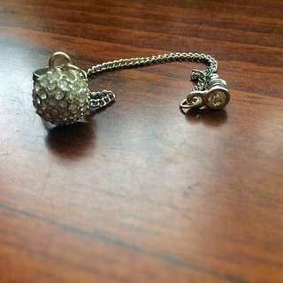 Silver Dimond Stud Earring With Long Chain