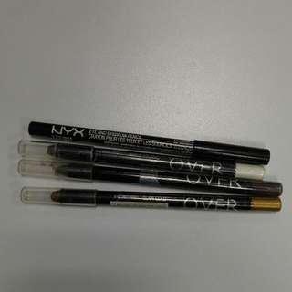1 Buah NYX Eye N Eyebrow Pencil Black + 1 Buah Eyeliner Pencil Make Over Warna Glam Gold+ 1 Buah Eyeliner Pencil Make Over Warna Brown +1 Buah Eyeliner Pencil Make Over Warna White Techno