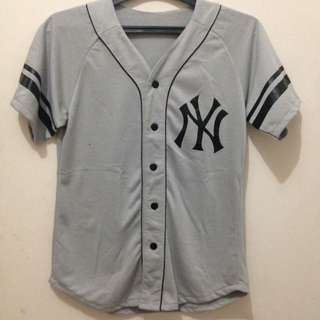 Baju Baseball Jersey Abu-abu