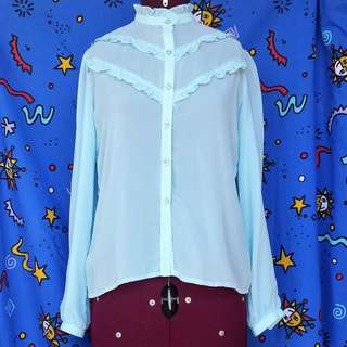 80s/90s Sheer Blue Long Sleeved Top / Shirt / Frilly Blouse