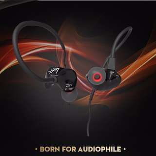 KZ ZS3 Hifi 3.5mm In-ear Earphone Noise Elimination Comfort Sport Earphone (Black with mic) Glossy Version
