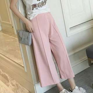 嫩粉色挺版寬褲