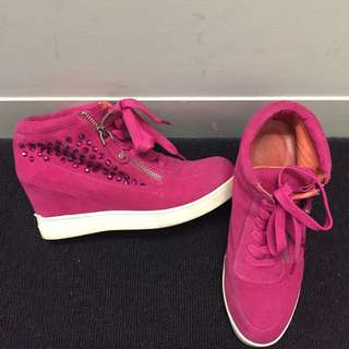 Staccato Hot Pink Studied Suede Wedged Sneakers