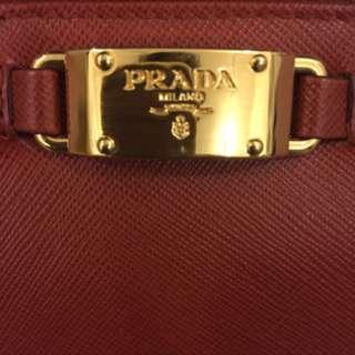 New Prada Red Zip Around Wallet