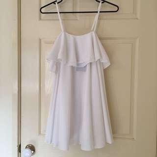 White Babydoll Mini Dress By Petite ASOS Size 8