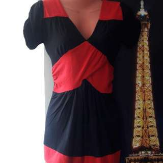 Black Blouse With Red Lining