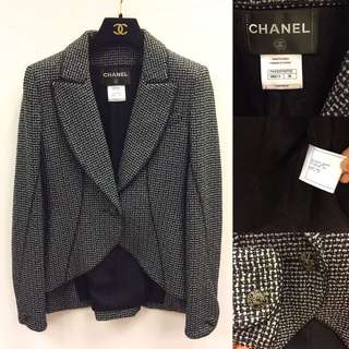 Chanel black and grey jacket size 38