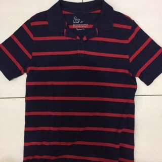 GIORDANO 紅深藍 條紋polo衫 M號