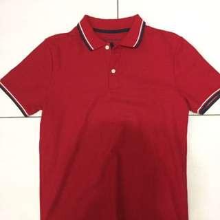 GIORDANO 紅色polo衫 M號