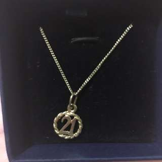 Silver 21 Pendant Necklace