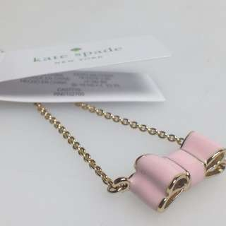 NEW AND AUTHENTIC KATE SPADE O0RU0829 MOONRIVER BOW PENDANT NECKLACE PINK