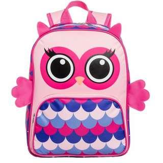 Brand New Kids Bag Pack Pink Owl 3D