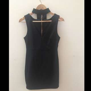 Black choker party dress