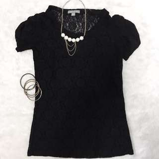 Ann Taylor Black Lace Top with Puffed Gartered Sleeves