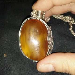天然琥珀帶皮925純銀項鍊 誠可議