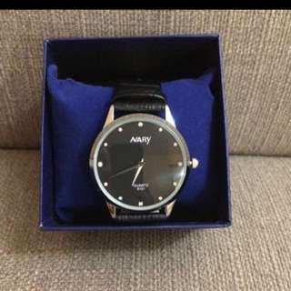 Nary Black Leather Strap