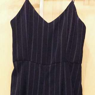 Stripes Jumpsuit With Flare Pants