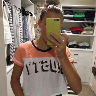 Rusty Rugby Style Crop Tee Shirt Size 12 (Fits 8 And 10 Oversized)