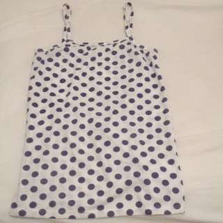 White and Navy Polka For Print Strap Top