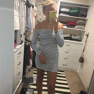 Reverse Striped Shoulderless Dress Medium