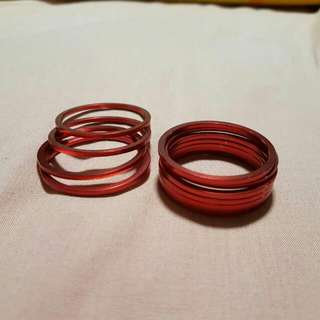 Anodized Red BB or Sprockets spacers 2mm Thick.