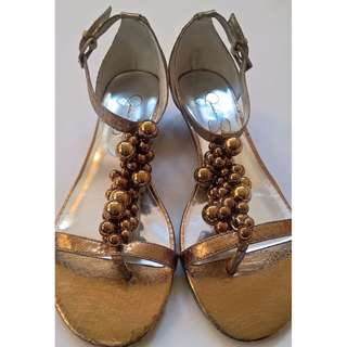 JESSICA SIMPSON golden embossed leather with beads sandals, size 8