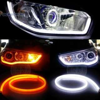 2x60cm Tube LED DRL flexible strip lights white/amber for Car and Motor
