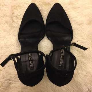 復古粗跟瑪莉珍鞋-黑