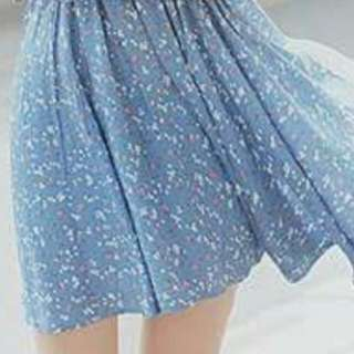 Blue Flowy Skirt