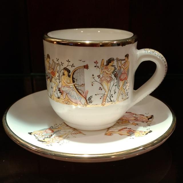 復古骨董希臘手繪24k希臘神話系列咖啡杯