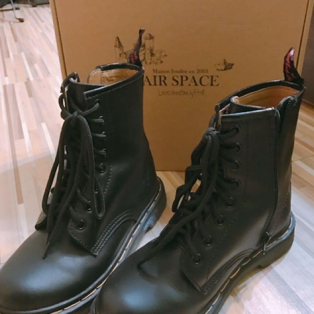 含運一次賣中高統黑色靴子軍靴-9.9成新-37號