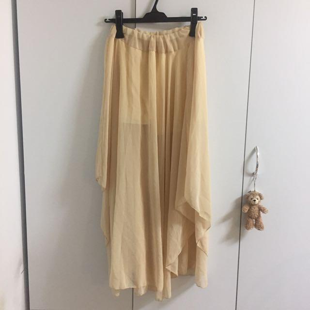 不規則粉膚色長紗裙