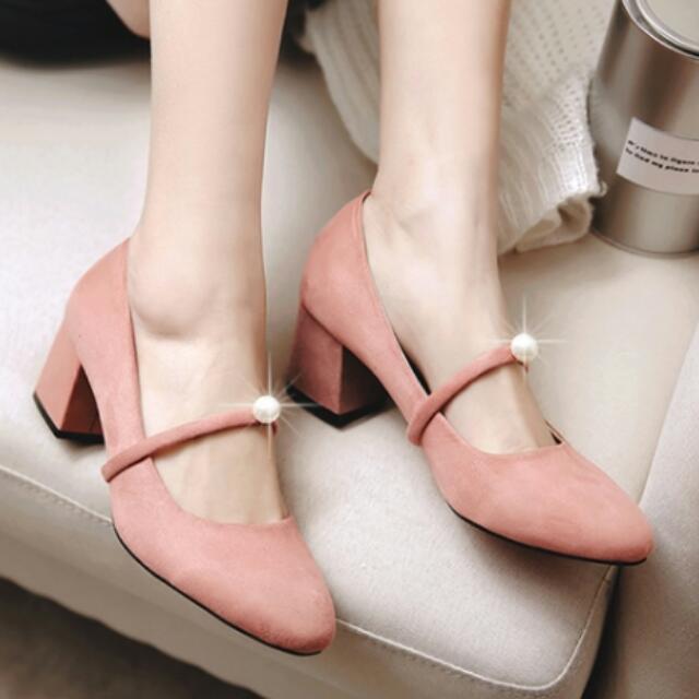 🎉降價 高跟鞋.甜美復古簡約圓頭氣質珍珠高跟鞋