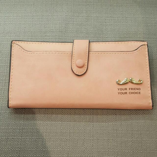 粉色多卡夾皮包