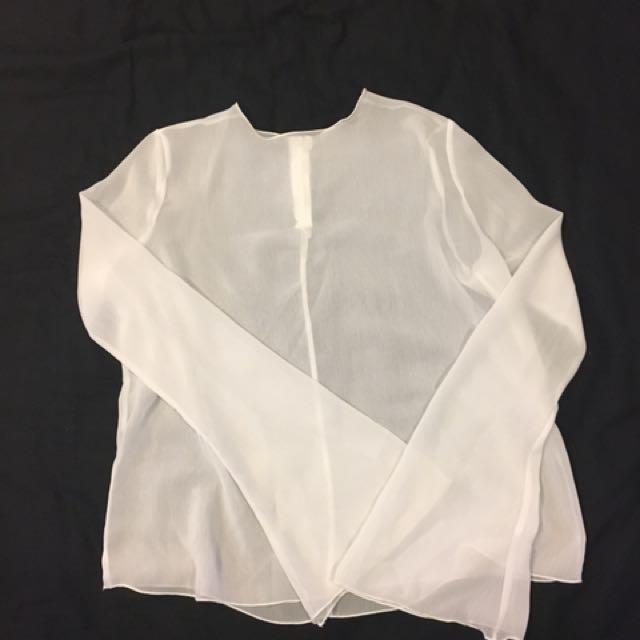 白色透明喇叭袖 韓國購入
