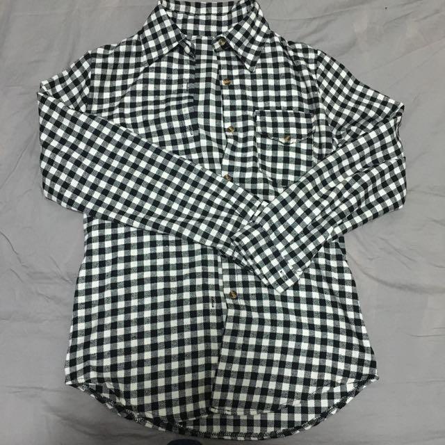 黑白格紋 襯衫 上衣