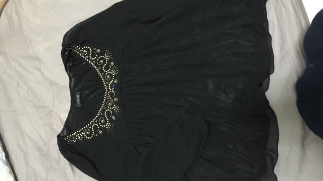 黑色 氣質 民俗風 雪紡上衣