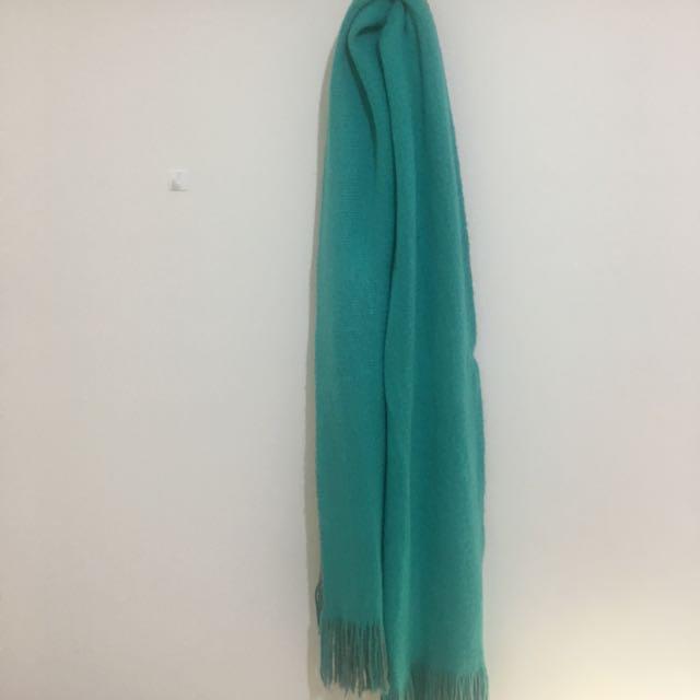 韓製🎈柔軟的雙色圍巾 湖水綠 Tiffany綠 灰色    (花泥小姐/92pleats/room4/nude/soulsis
