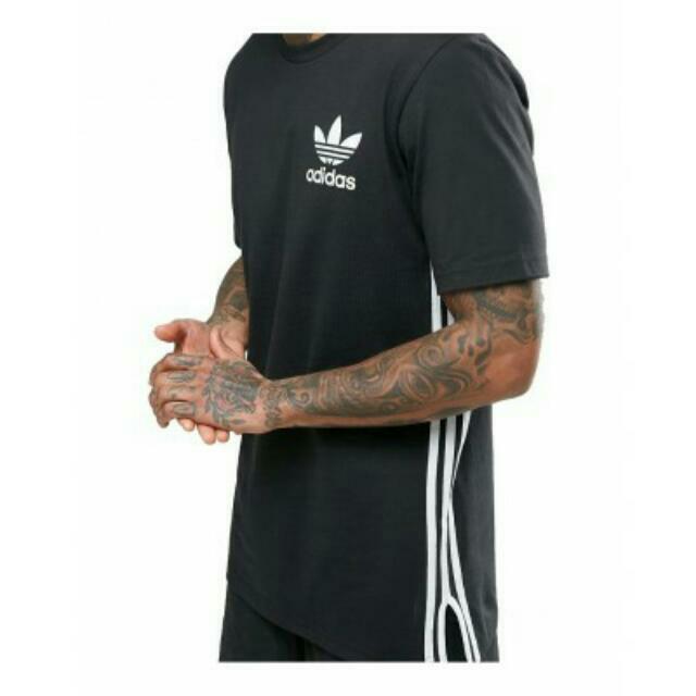 百搭黑色M號 Adidas Originals 愛迪達 三葉草三條線長版開叉黑 t shirt 短袖上衣 Elongated T Shirt