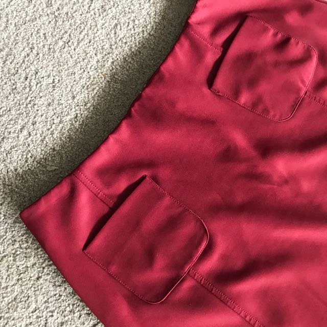 A-Line New Look Skirt In Wine Red, Size 12