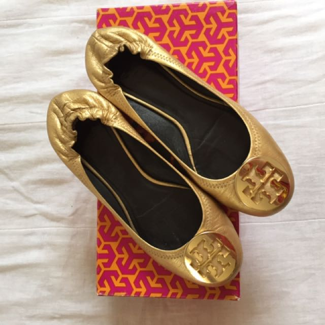 AUTHENTIC TORY BURCH GOLD FLATS